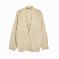 Vintage Cozy Boucle Cardigan Sweater in Barley Tan