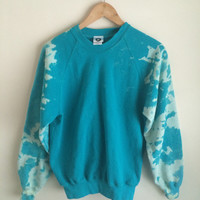 Turquoise Blue Green Bleached/Stone Washed Sweatshirt Jumper