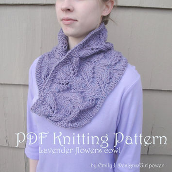 Lavender Flower Cowl Scarf PDF Knitting Pattern, Worsted Yarn, Jojoland Timbre