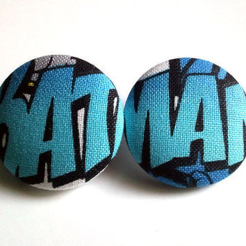 Large baby blue batman button earrings