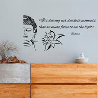 Wall Decals Buddha Quote ... We Must Focus To See The Light Lotus Home Vinyl Decal Sticker Kids Nursery Baby Room Decor kk657