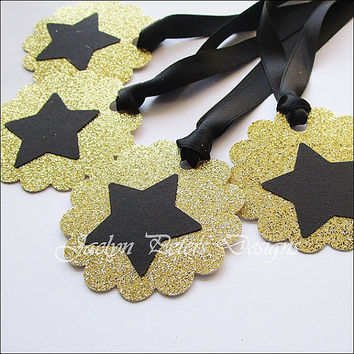 Gift Tags, Gold Glitter And Black, Star Party Decoration, Satin Ribbon, Scalloped Circle, Favor Packaging, Wine Bottle Tag, Shower, Set Of 8