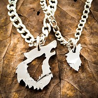 His and her Wolf Necklaces, Couples Relationship Jewelry, Half Dollar, hand cut coin by Namecoins