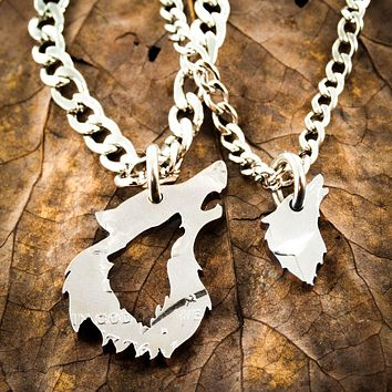 His and her Wolf Necklaces, Couples Relationship Jewelry, Half Dollar, hand cut coin