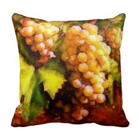 Decorative pillow, sunny grapes, vines, summer