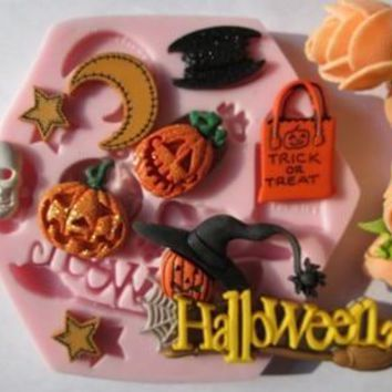 Hallowmas skull star moon bat pumpkin  fondant molds,silicone mold soap,candle moulds,sugar craft tools,chocolate mould,bakeware