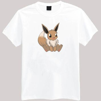Pokemon game Eevee o-neck t-shirts shirt sleeve men T-shirt for gameplayer man woman t-shirt