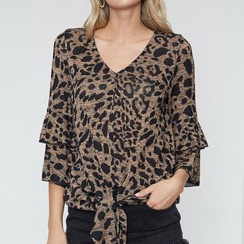 Leopard Top with Tie Front - Carmel