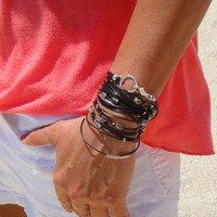 Black and Silver Leather Bracelet / Necklace