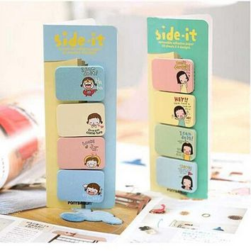 New Lovely Girl Print Memo Pad Cute Funny Joy Sticker Post It Bookmark Memo Marker Point Flags Sticky Notes 1 Set