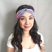 Turban Headband Jersey Headband  Printed Turban Pink Blue Ombre Bohemian Striped Women's Hair Accessories