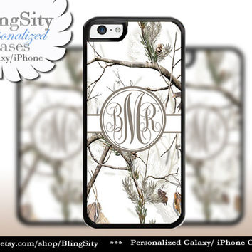 Snow Camo Brown Monogram iPhone 5C 6 Plus Case iPhone 5s 4 Cover Ipod White Realtree Personalized Country Inspired Girl