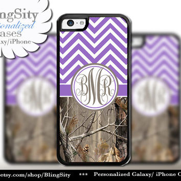 Purple Chevron Monogram iPhone 5C 6 Case Plus iPhone 5s 4 Ipod 4 5 Touch case Real Tree Camo Zig Zag Personalized Country Girl