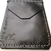 Black Leather Pocket Protector sleeve small