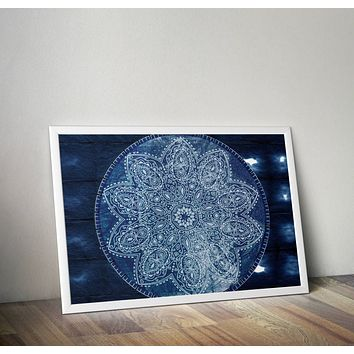 Reiki Charged Navy Blue Mandala Boho Poster  Hippy Yoga Meditation Mandala 20 x 30 no frame