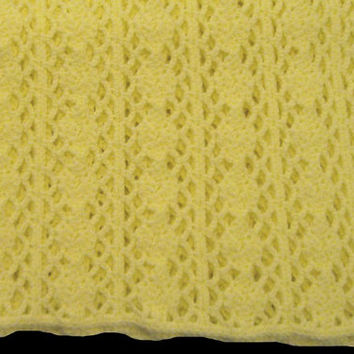 Yellow Baby Afghan / Lapghan 62 inches x 42 inches - Hand Crocheted