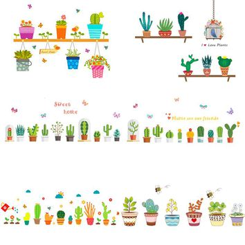 creative potted plants flower cactus wall stickers home decor living room window kitchen pvc wall decals diy mural art posters