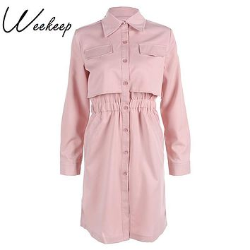 Weekeep 2017 Winter Casual Brand Women Office Dress Pink Loose Shirt Dresses Robe Vintage Retro Midi Tunic Long Sleeve Vestidos
