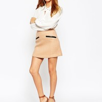 ASOS Wool Mix A-Line Mini Skirt With Contrast PU Pockets