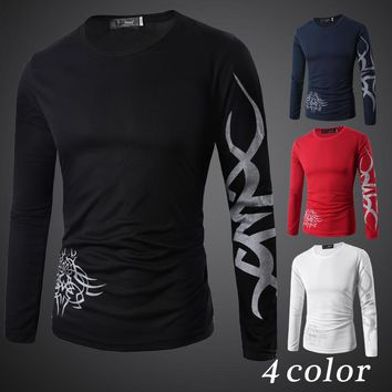 2017 New Fitness Compression Shirt Men Bodybuilding Long Sleeve 3D T Shirt Crossfit Tops Slim Shirts