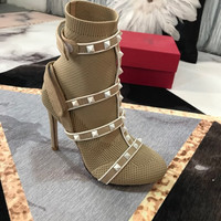 VALENTINO Garavani The Rockstud leather-trimmed stretch-knit sock boots