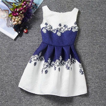2016 New Bottoming Dress Girl Summer Style Dress Vintage Party vestidos Princess Dresses For Kids Teenagers Clothing Maxi Boho