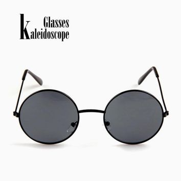 Kaleidoscope Glasses Women Men Sunglasses Round Metal Frame Brand Designer Mirrored Eyewears Retro Females Male Sun Glasses