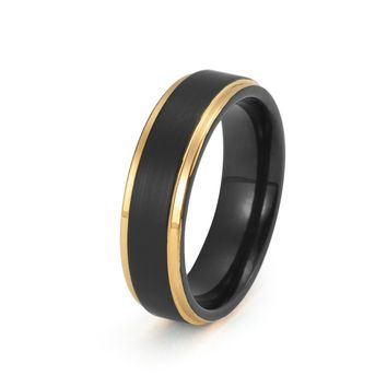 Black Tungsten Ring Yellow Gold Wedding Band Ring Tungsten Carbide Brushed 6mm 18K Tungsten Ring Man Wedding Band Male Engagement Ring Women Anniversary His Hers Matching Promise Stepped Edges
