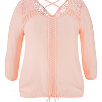 Plus Size - Cross Back Crochet Detail Blouse - First Blush