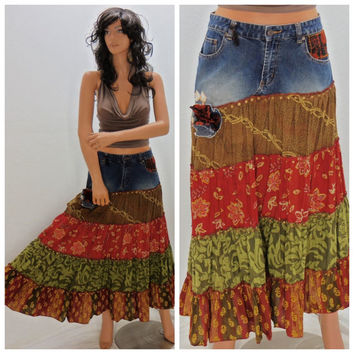 Upcycled denim skirt, size 6 / 7,  boho, hippie festival maxi skirt, shabby chic restyled skirt