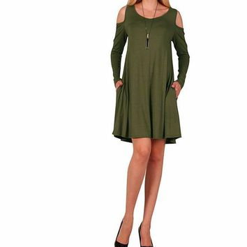 Women Olive Green Long Sleeve Cold Shoulder Casual Shift Dress with Pockets
