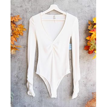 Free People Cozy Up With Me Knitted Bodysuit in Ivory