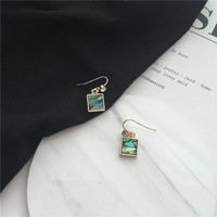 Peep - Gold plated minimalist square gem dangle earrings