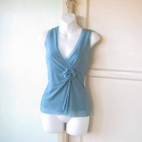 Odille Low-Plunge Light Blue Tank/Cami/Sleeveless Top w/ Fabric Flower/Small