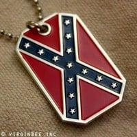 CONFEDERATE STATES AMERICA FLAG DIXIE REBEL CSA PENDANT DOG TAG CHAIN NECKLACE