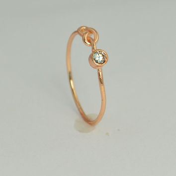 14k Rose Gold Aquamarine Infinity Ring, 14k Rose Gold, Stackable Rings, Mothers Ring, March Birthstone, Rose Gold Infinity, Rose Gold Knot