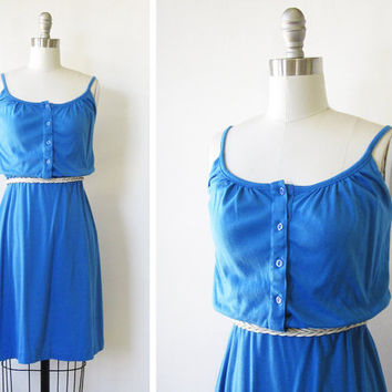 1980s blue sundress / vintage 80s blue summer dress