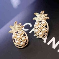 Chanel Women Fashion Pineapple Pearl Stud Earring Jewelry