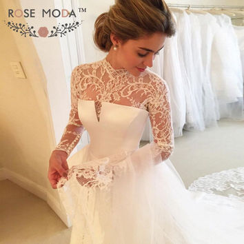 Classic Long Lace Sleeves High Neck A Line Wedding Dress Backless