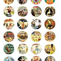 vintage circus posters clip art collage sheet digital download 1.5 inch circles graphics carnival images craft printables pendants
