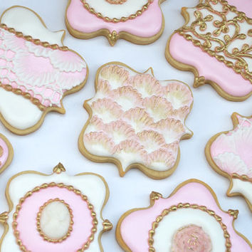 Elegant Pastel Pink Fancy Square Plaque Wedding Cookie Favors - One Dozen Decorated Sugar Cookies