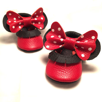 Red bow white polka dot Mary Janes