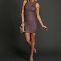 Lavender Shimmer Lace Dress