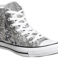 Converse Women Shoes Chuck Taylor All Star Sequin Hi Silver Textile Fashion Sneakers