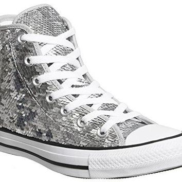 Converse Women Shoes Chuck Taylor All Star Sequin Hi Silver Text 1289940638