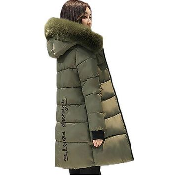 Winter jacket Women 2017 Mid-long Thicken Warm cotton-padded Down Parkas Coat Faux Fur Collar Hooded Jacket for girl AC182