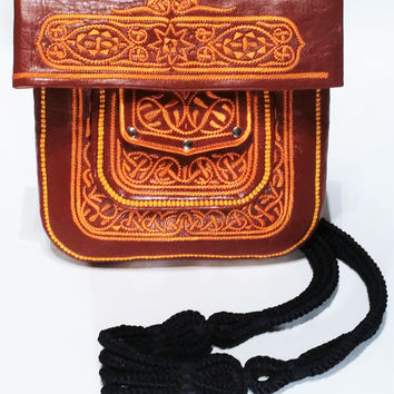 Moroccan Leather Cross Body Choukkara Money Bag - Satchel with Embroidered Design