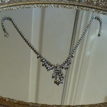 Vintage 50s - 60's Crystal Rhinestone Choker Necklace