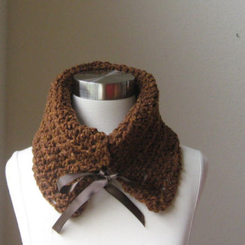 BROWN CROCHET  SCARF Cowl Fashion  Wool Chic Merino Knit Handmade Fashion Fall Winter 2012 2013
