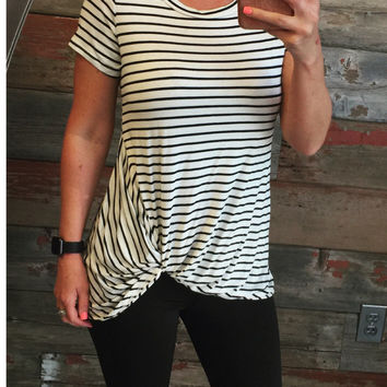 Striped Knotted Top: White
